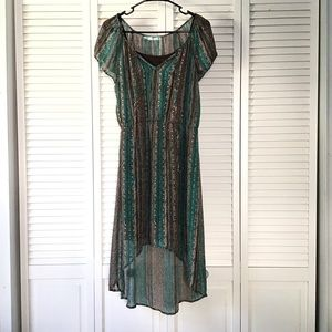 Maurices Brown and Turquoise Dress